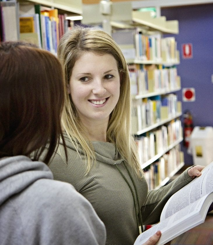 Students in the CSU library.