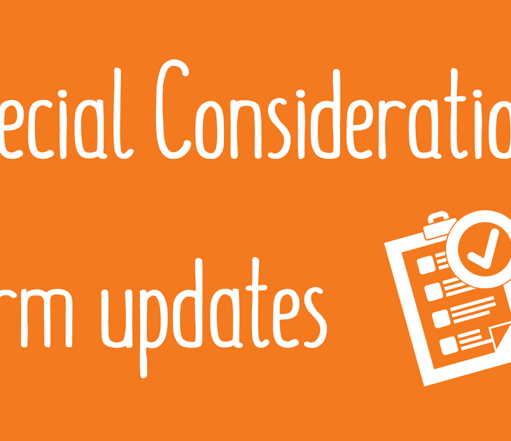 Special Consideration form updates graphic.