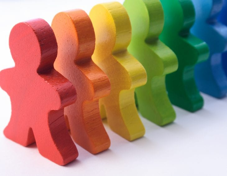 rainbow coloured cut-outs of people