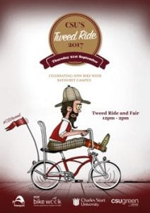 CSU Tweed Ride 2017: Celebrating NSW Bike Week, Bathurst Campus. 12pm to 2pm.
