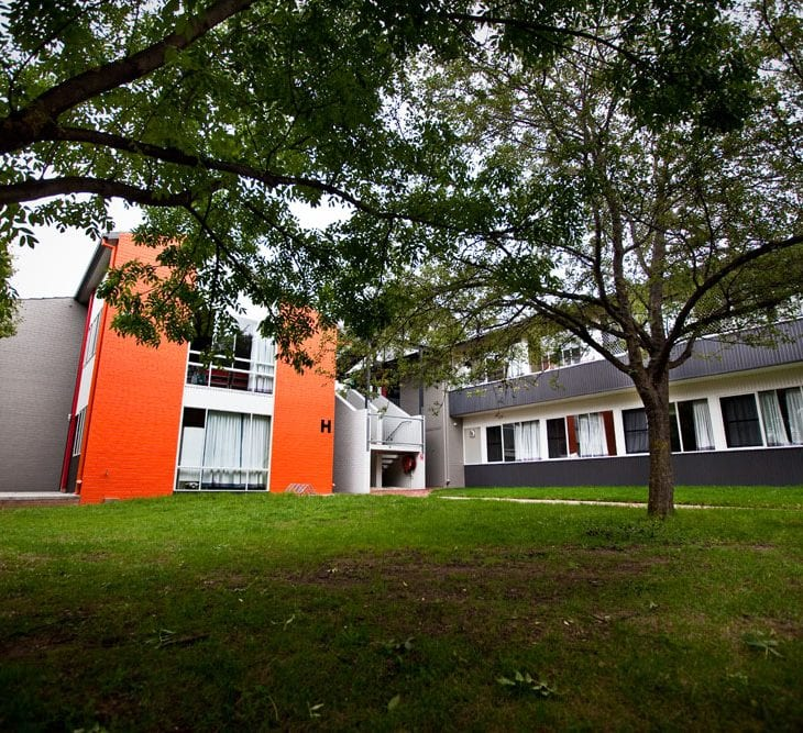 Colourful accommodation blocks at CSU in Bathurst