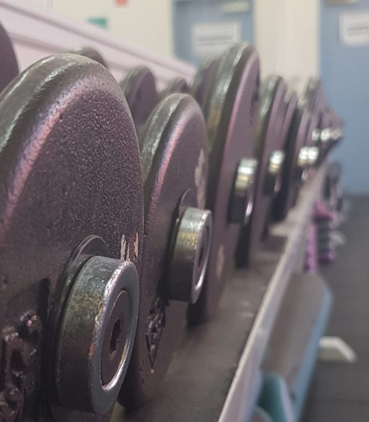 Row of dumbbells in Bathurst gym
