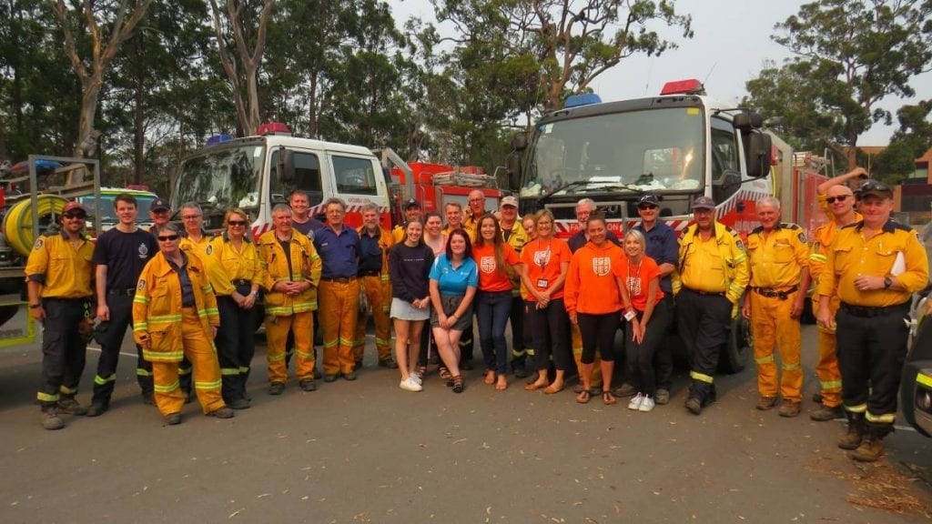 Firefighters and students on campus at Port Macquarie