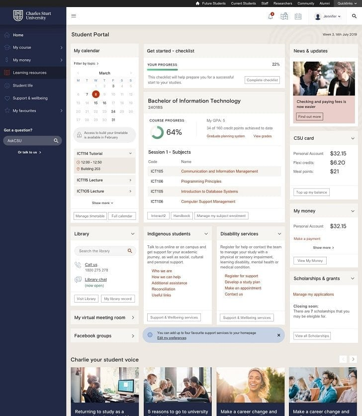 Screenshot of new Student Portal dashboard showing menu to the left and personalised content on the right including enrolment details, course progress, financial balances and links to services.